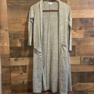 Lularoe Sarah long cardigan sweater, gray